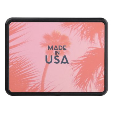 Beach Themed Trendy Palm Tree Bright Peach Made In  USA Type Hitch Cover