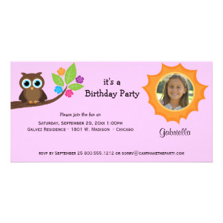 Trendy Party Owl Photo Invite Pink Background Photo Card