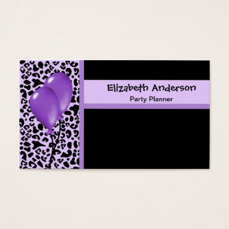 Trendy Party Planner Purple and Black Leopard Business Card