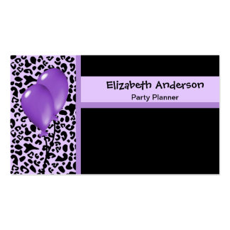 Trendy Party Planner Purple and Black Leopard Business Card Template