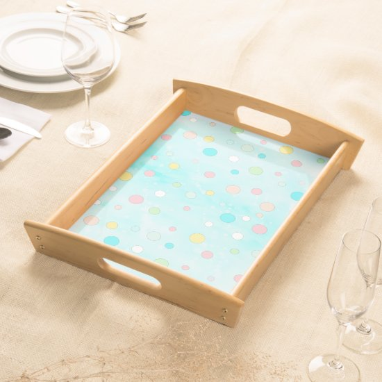 Trendy Pastel Dots Whimsical Modern Winter Holiday Serving Tray