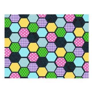 Trendy Pastel Girly honeycomb pattern Postcard
