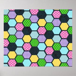 Trendy Pastel Girly honeycomb pattern Poster