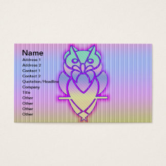 Trendy Pastel Owl Business Card