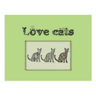 """Trendy patchwork abstract cats """"love cats"""" postcard"""