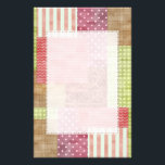 "Trendy Patchwork Quilt Stationery<br><div class=""desc"">A stylish patchwork pattern with patches in trendy shades. Patterns include: Chevrons,  gingham,  polka dots,  giraffe pattern,  stripes,  and cross hatch. A country charm style sure to appeal to the girly girl. Designs are images not actual textile material.</div>"