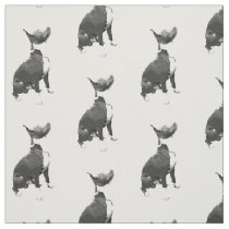 Trendy pattern black and white Pit Bull dog Fabric