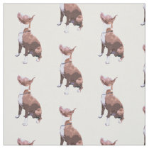 Trendy pattern brown and white Pit Bull dog Fabric