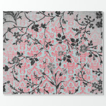 Trendy Pattern Red Turquoise Girly Vintage Damask Wrapping Paper