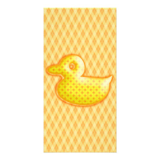 Trendy Patterned Rubber Ducky Photo Card