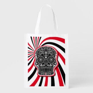Trendy Patterned Skull on Sunburst Grocery Bag