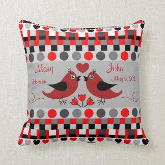 Trendy Patterns, Love Birds & Custom Text Pillow