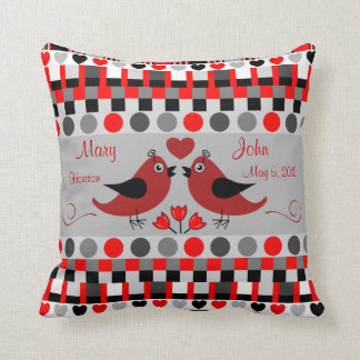Trendy Patterns, Love Birds & Custom Text Throw Pillow