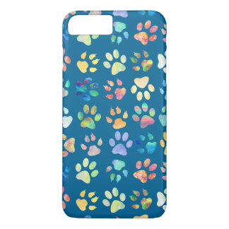 trendy paw prints pattern on blue iPhone 7 plus case