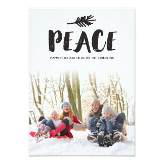 Trendy Peace Holiday Photo Cards - Black