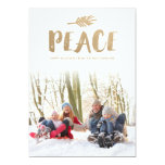 Trendy Peace Holiday Photo Cards - Gold