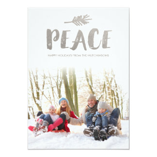Trendy Peace Holiday Photo Cards - Silver