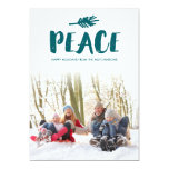 Trendy Peace Holiday Photo Cards - Teal