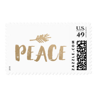Trendy Peace Holiday Postage - Gold