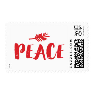 Trendy Peace Holiday Postage - Red