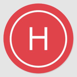 Trendy Peace Round Monogram Stickers - Red
