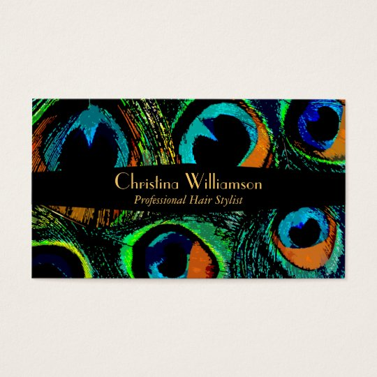 Trendy Peacock Feathers Business Card