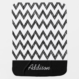 Trendy Pencil Black and White Chevron With Name Swaddle Blanket