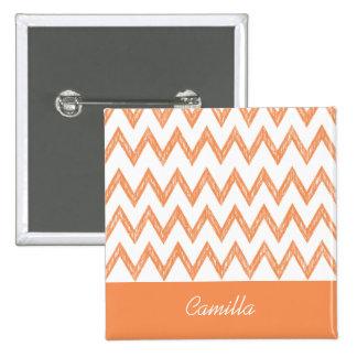 Trendy Pencil Orange Chevron Zigzags With Name 2 Inch Square Button