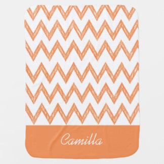 Trendy Pencil Orange Chevron Zigzags With Name Swaddle Blanket