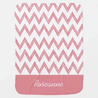 Trendy Pencil Pink Chevron Zigzags With Name Receiving Blanket
