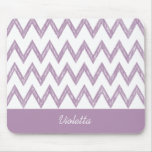 Trendy Pencil Purple Chevron Zigzags With Name Mouse Pads