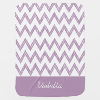 Trendy Pencil Purple Chevron Zigzags With Name Receiving Blanket