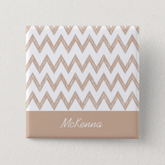 Trendy Pencil Tan Chevron Zigzags With Name Pinback Button
