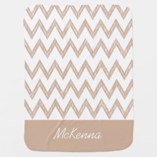 Trendy Pencil Tan Chevron Zigzags With Name Stroller Blanket