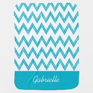 Trendy Pencil Turquoise Chevron Zigzags With Name Receiving Blanket