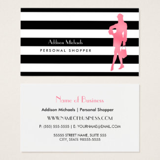 Trendy Personal Shopper Pink Woman Black Stripes Business Card