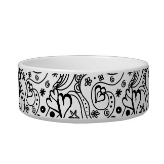 Trendy Personalized Hearts and Love Doodle Pattern Bowl