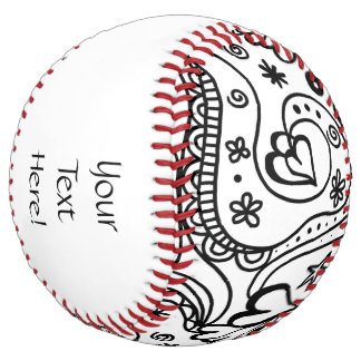 Trendy Personalized Hearts and Love Doodle Pattern Softball