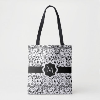 Trendy Personalized Hearts and Love Doodle Pattern Tote Bag