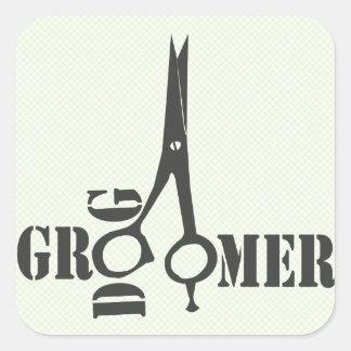 Trendy Pet Stylist Animal Salon Grooming Square Sticker