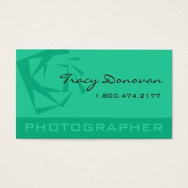 """Professional Business Trendy Photographer """"Quartz"""" mint Business Card"""