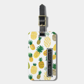 Trendy Pineapple Pattern | Add Your Name Luggage Tag
