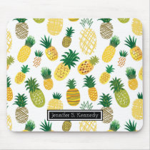 Trendy Pineapple Pattern | Add Your Name Mouse Pad