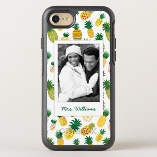 Trendy Pineapple Pattern | Add Your Photo & Name OtterBox Symmetry iPhone 7 Case