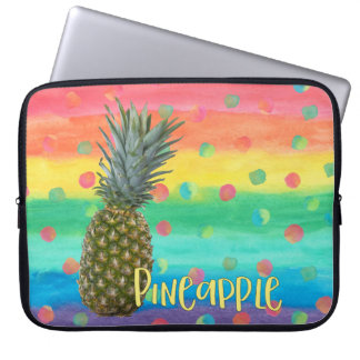 Trendy Pineapple Rainbow Stripes and Dots Computer Sleeve