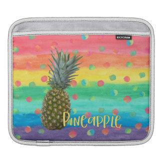 Trendy Pineapple Rainbow Stripes and Dots iPad Sleeve