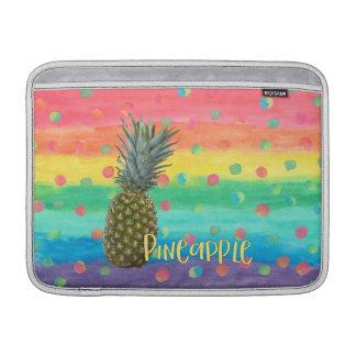 Trendy Pineapple Rainbow Stripes and Dots MacBook Sleeve