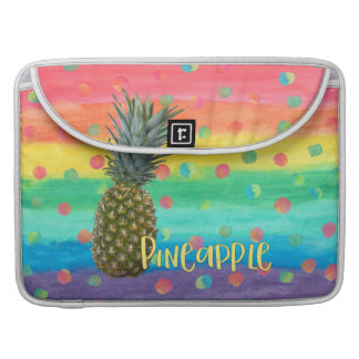 Trendy Pineapple Rainbow Stripes and Dots Sleeve For MacBook Pro
