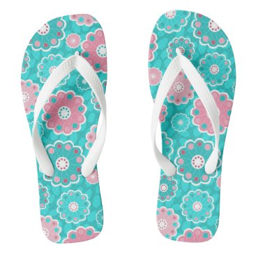 Beach Themed Trendy pink and aqua floral flip flops