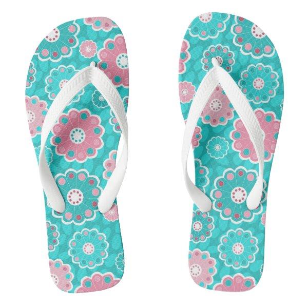 Trendy pink and aqua floral flip flops